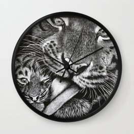 Tiger Mother and Cub Wall Clock