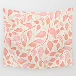 Coral Pink Leaves On Gold Wall Tapestry