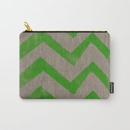 lime chevron on linen Carry-All Pouch