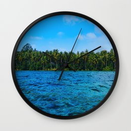 Mid Century Modern Round Circle Photo Caribbean Paradise Green Palm Trees Clear Blue Waters Wall Clock