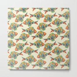 Abstract Geometric Fish Pattern Metal Print