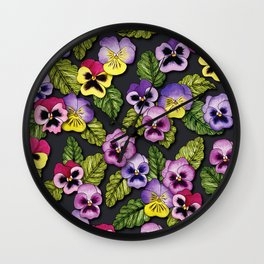 Purple, Red & Yellow Pansies With Green Leaves - Floral/Botanical Pattern Wall Clock