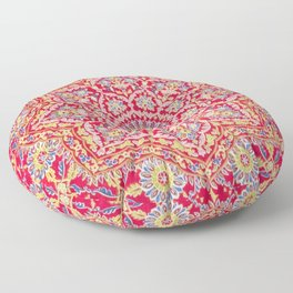 Red Pink Embroidered Mandala Floor Pillow