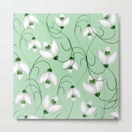 Snowdrops spring flower pattern Metal Print