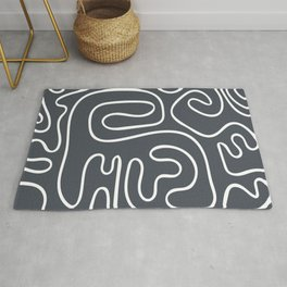 Doodle Line Art White Lines on Gray Background Rug