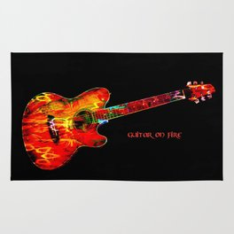 Guitar On Fire By Annie Zeno  Rug