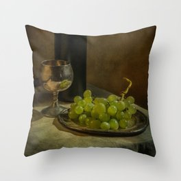 Still life with wine and green grapes Throw Pillow