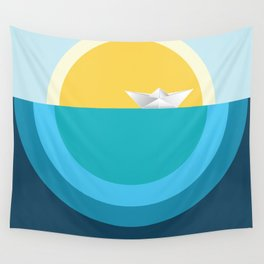 Paper boat in the sea Wall Tapestry