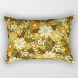 1970s Retro/Vintage Floral Pattern Rectangular Pillow