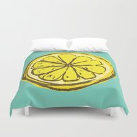 lemon Duvet Covers featuring lemon by Marzipan