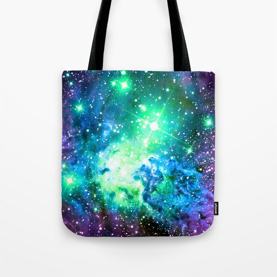 Fox Fur Nebula BRIGHT : Green Blue Purple Galaxy Tote Bag