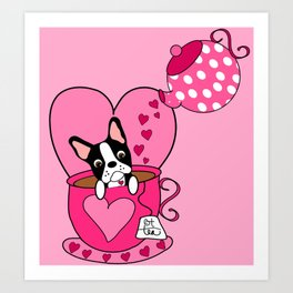Boston Terrier Tea Art Print