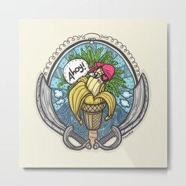 Banana Pirate! (Yellow Bg) Metal Print