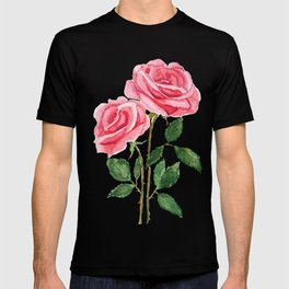two pink roses watercolor T-shirt