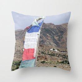 Himalayan Landscape with Tibetan prayer flag Throw Pillow