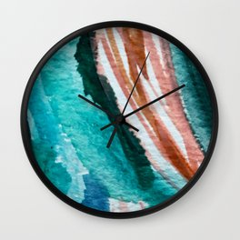 Here's to the Dreamers: a minimal, watercolor abstract piece in pinks, green, blue, and white Wall Clock
