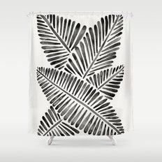 Tropical Banana Leaves – Black Palette Shower Curtain