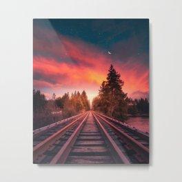 Railroad Tracks Photography Metal Print