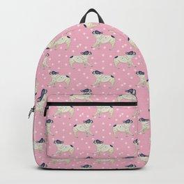 French Bulldog & Snowflake Pattern, Pink Background Backpack