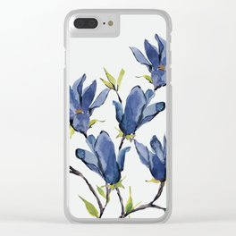 Blue Flowers 3 Clear iPhone Case