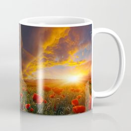 Sunset and Red poppy bloom lovers Coffee Mug