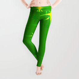 Green background with green stars. Leggings