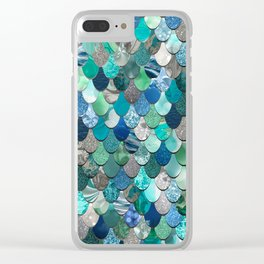 Mermaid Pattern, Sea,Teal, Mint, Aqua, Blue Clear iPhone Case