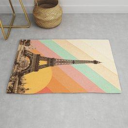 Rainbow Sky Above The Eiffel Tower Rug