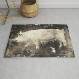 Vintage Aesthetic Pork Photograph Rug