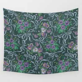 Violet with sweet peas flowers on dark background Wall Tapestry