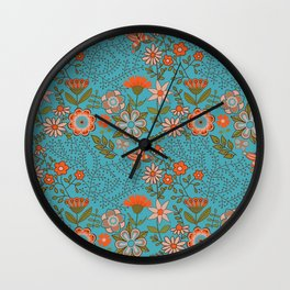 Fantasy Floral in Blue and Orange Wall Clock