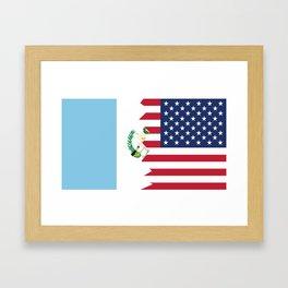 Half Guatemalan American Flag Framed Art Print