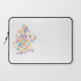 Typographic Brooklyn - Multi Color Watercolor map art Laptop Sleeve