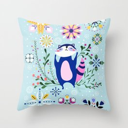 Happy Raccoon Card Throw Pillow