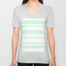 Mixed Horizontal Stripes - White and Pastel Green Unisex V-Neck