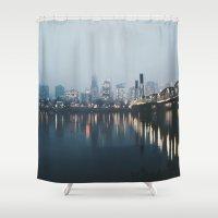 portland Shower Curtains featuring Portland II by Hannah Kemp