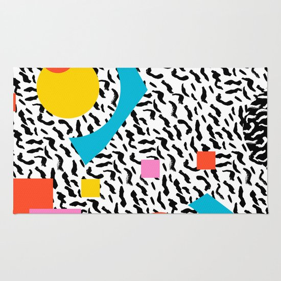 Minimalist Colorful Rug Designs: Memphis Abstract Pattern Retro 80s Design