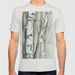 Winter Birch Trees Woodland Watercolor Original Art Print T-shirt