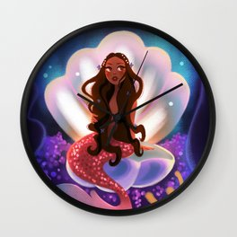 Mermaid in a Shell Wall Clock