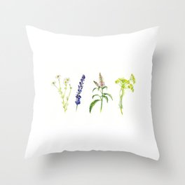 Tea Flowers Throw Pillow