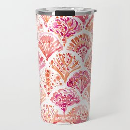 CORAL CAMO Mermaid Watercolor Fish Scales Travel Mug