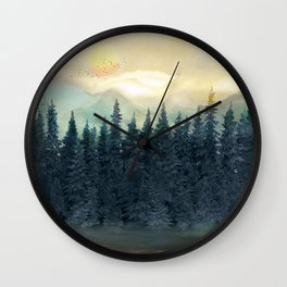 Forest Under the Sunset II Wall Clock