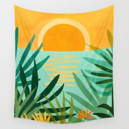 Peaceful Tropics / Sunset Landscape Wall Tapestry