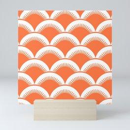Japanese Fan Pattern Orange Mini Art Print
