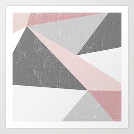 Grunge Geometric Retro Pattern Art Print