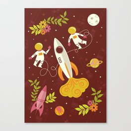 Astronauts in Space with Florals - Maroon Canvas Print