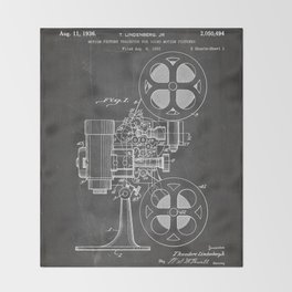 Film Projector Patent - Cinema Art - Black Chalkboard Throw Blanket