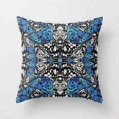 Butterfly Kaleidoscope Blue Throw Pillow