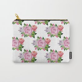 Botanical hand painted pink orange watercolor floral Carry-All Pouch