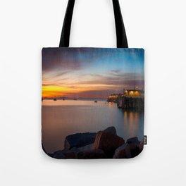 Here she comes again the sun rising at Port San Luis vila Beach Tote Bag